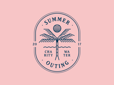 Summer Outing mark ocean type badge sun tree palm outing summer 80s