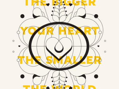 The Bigger Your Heart, The Smaller The World non profit charity white black drop water art line illustration world design heart