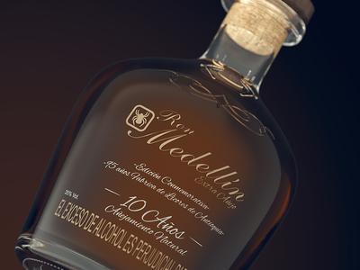 Ron Medellin :: 3D Packshot medellin cgi bottle rum bottle 3d product 3d bottle advertising 3d visualization