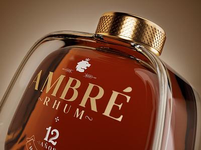 Ambré 3d packshot rhum 3d bottle