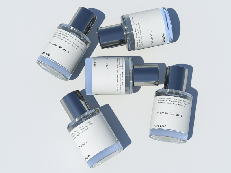 DOSSIER beauty packaging perfume luxury cosmetics 3d visualization 3d bottle 3d product