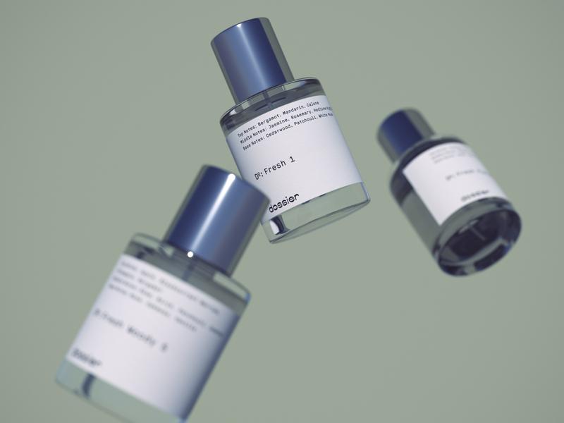 DOSSIER 3d packshot packaging beauty perfume luxury cosmetics 3d visualization 3d bottle 3d product