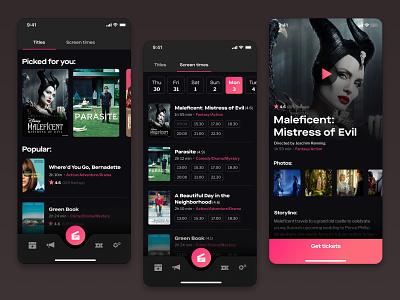 Cinema mobile app mobile design product design mobile tickets booking ios movie concept dark cinema design ux ui