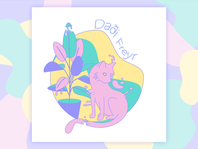 Daði Freyr Band Tee gloop pastels space cat melty weekly challenge pastel cat dribbbleweeklywarmup