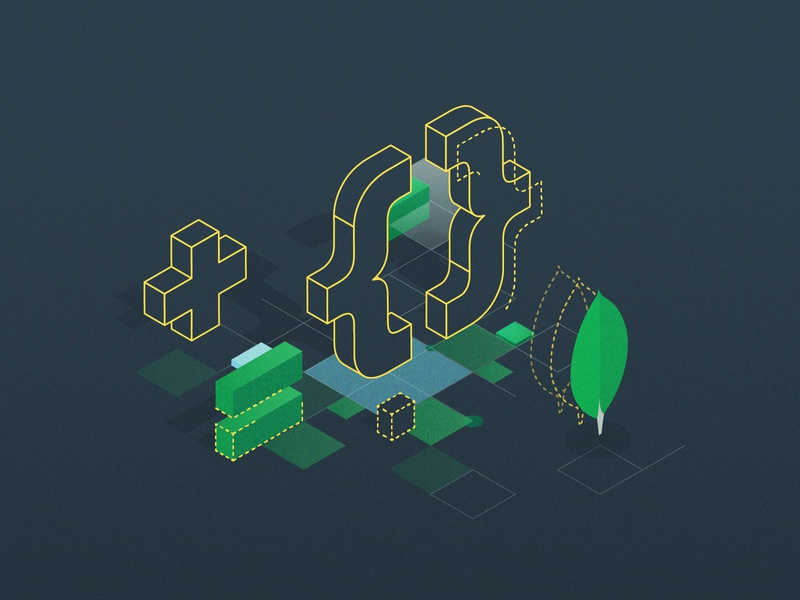 MongoDB World 2020 web illustration illustrator mongodb build event design branding vector illustration