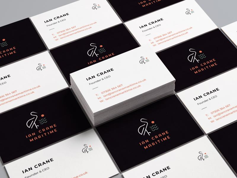 Ian Crane Maritime Business Cards idenity bird cruiseindustry maritime sea illustrator typography vector illustration experience design graphic design brand branding