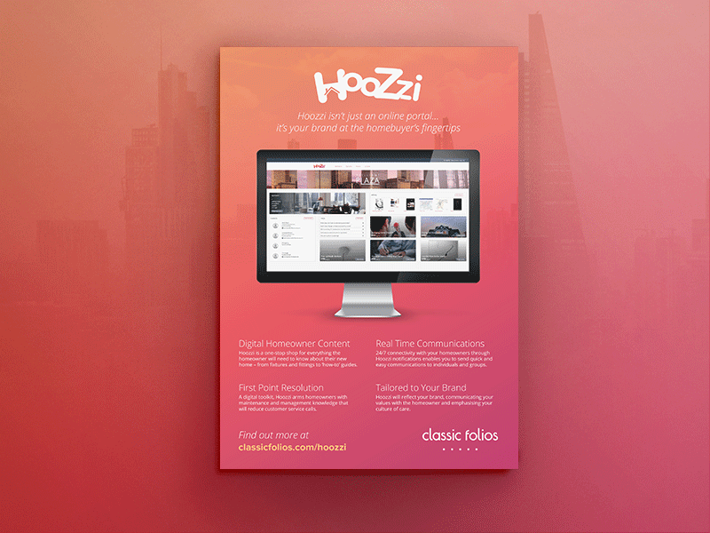 Hoozzi Advert promotion hoozzi portal ux online portal ui website mac shadow branding editorial print design advert
