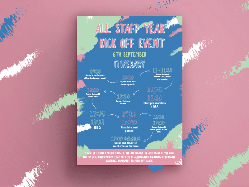 Staff event poster typography posterdesign design graphic design pattern kick off brand aid poster art pink mint festival paint illustrator print photoshop poster