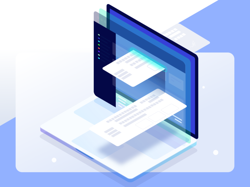 Razorpay Paper NACH icons desktop website minimal clean fintech payment 3d laptop isometric razorpay illustration