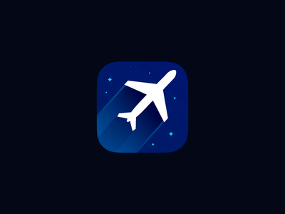 Fly fly blue minimal logo ios app icon fight
