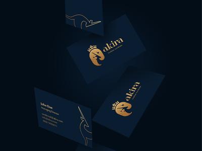 Akira fashion business card minimal simple clean freelancer elephant deer logodesign amazing logo