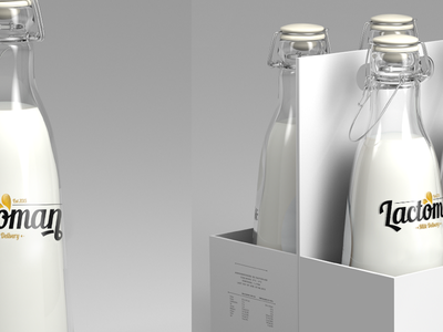 Lactoman simple clean design freelancer bottle milk minimal logo