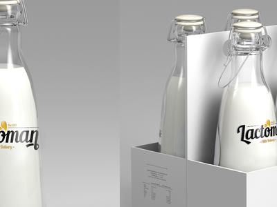 Lactoman simple clean design freelancer bottle milk minimal logo
