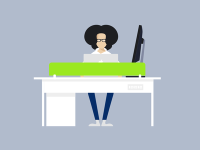 Workspace  simple illustration caricature minimal apple mac table designer office workspace