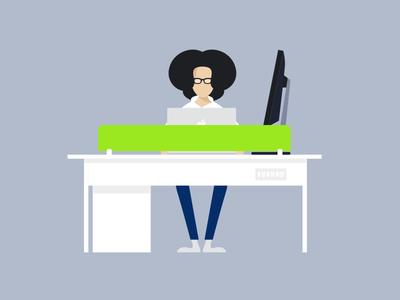 Workspace  simple illustration caricature minimal apple mac table designer office workspace