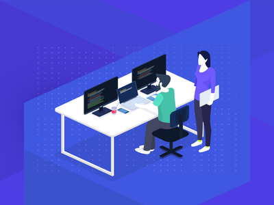 Hiring Backend Developers and More table job hiring workspace code developer backend illustration isometric
