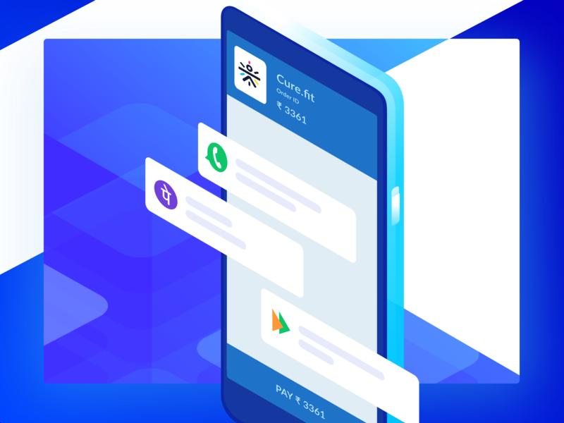 UPI Ready Payment Form blue clean design website ui checkout minimal mobile isometric illustration upi