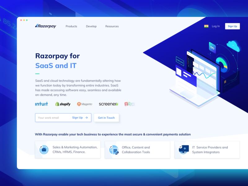 Razorpay for SaaS and IT cloud clean illustration design colours it market saas fintech finance icons ux ui isometric responsive mobile desktop website