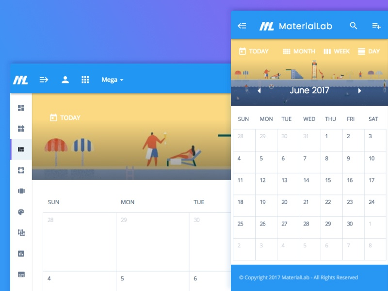 Calendar material design responsive ui daily weekly dates calendar