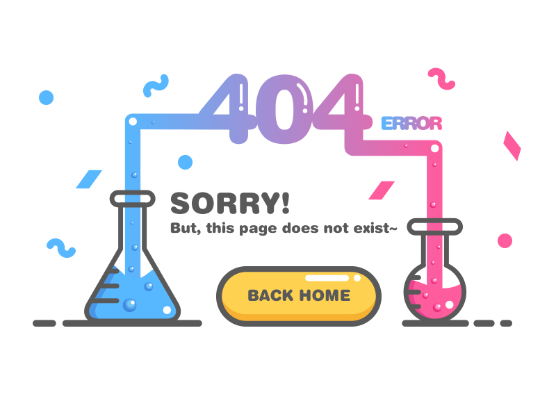 404 page test tube experiment button ui 404