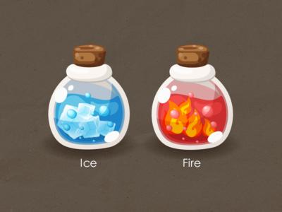 cartoon bottle glass bottle blue red fire ice