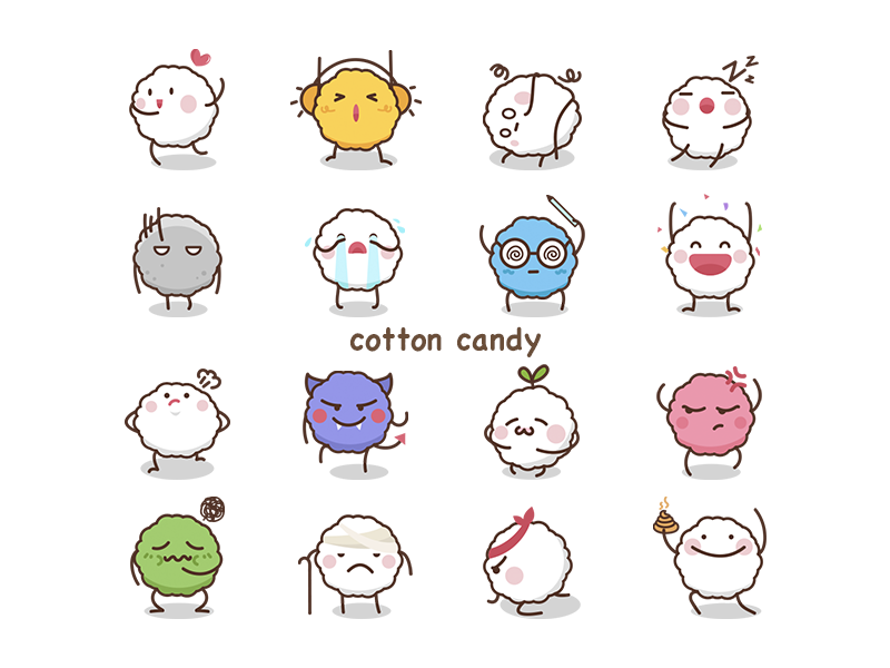 Cotton Candy cotton cute expression cartoon cotton candy