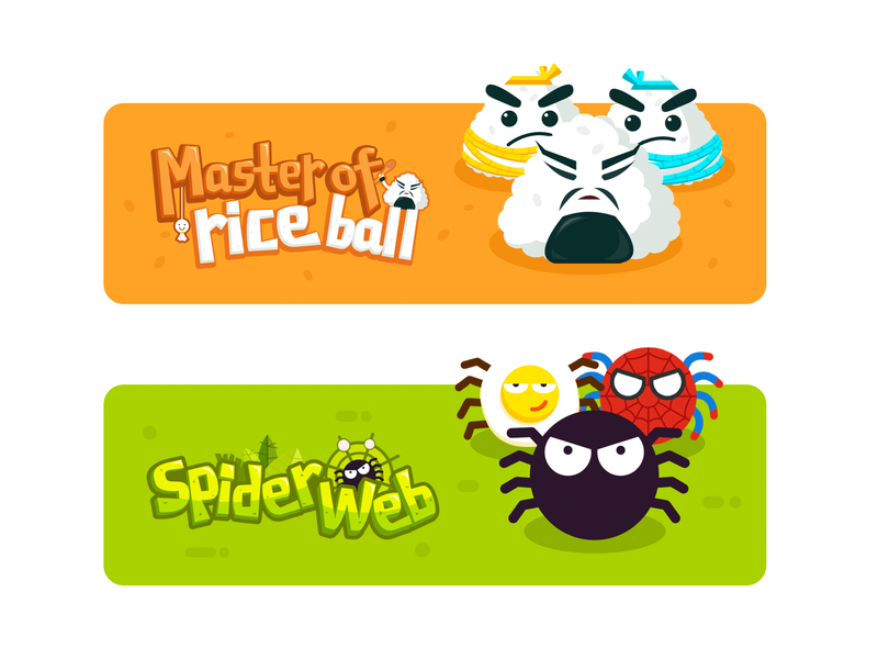 game banner rice ball spider web spider game banner game logo logo game illustration cartoon