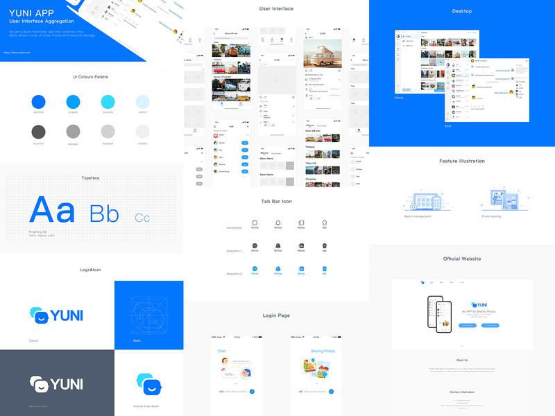 YUNI APP UI Design album chat app  design bar login desktop website font intertenment illustration button icon logo ui
