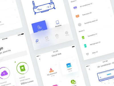 Router page smart sketch router interface intelligent icon home design controller color app