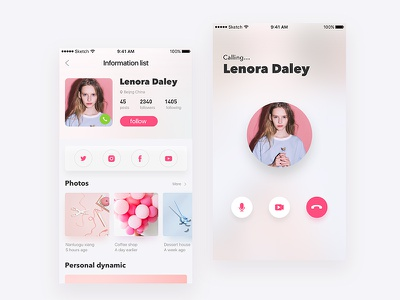 Social applications ux user ui social light interface glass colour clean chat app