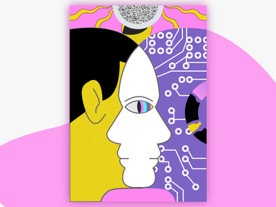 Double sided person design ui illustration