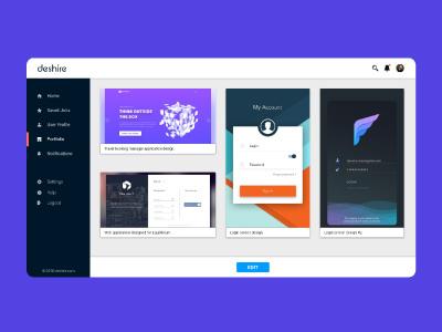 Deshire | Hiring portal for designers ux ui web portal designers hiring