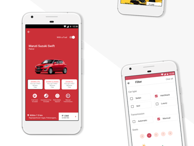 Zoomcar Application UI ui ux design android