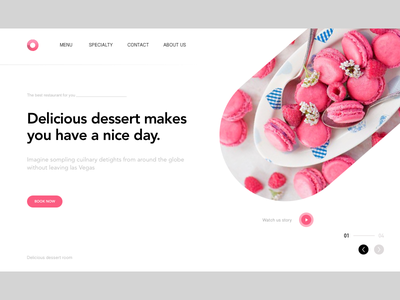 WEB DESIGN ERERCISE pink sweet macarons teatime tea afternoon restaurant dessert layout web ui