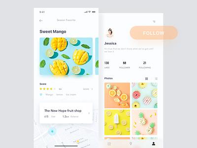 A fruit shop app lemon mango profile layout sweet fruit app ux ui