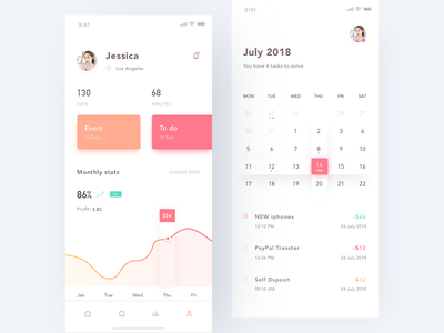Wallet App card calendar minimal animation profile wallet data layout ux ui