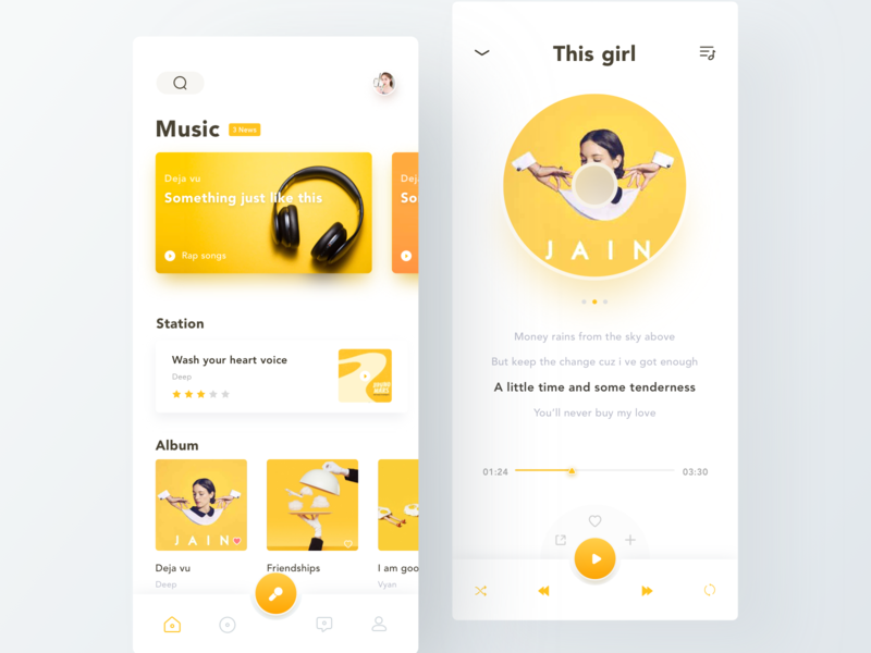 Music App graphic song station play cd album cover music yellow layout ux ui