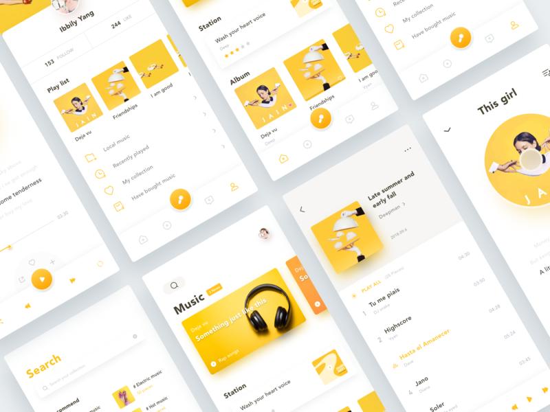 Music App music app popular rap pop song graph profile search play play list music yellow minimal layout ux ui