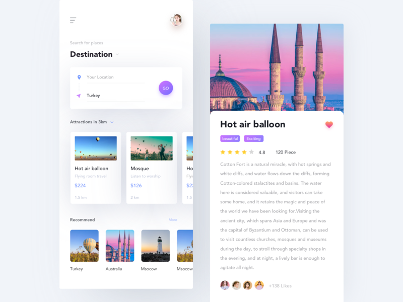 Travel App price hot air balloon blue purple pink turkey search distance map travel layout app ux ui