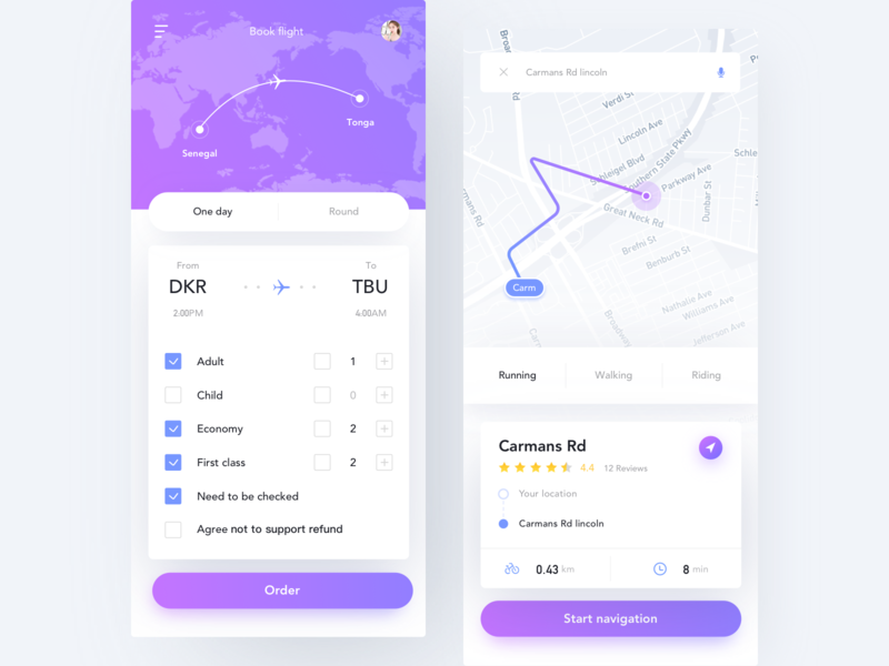 Travel App navigation bar order location air ticket distance fly plane layout ux ui