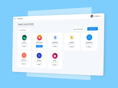 Project listing UI