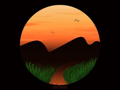 Sunset brown orange mountain sky grass birds dark nature environment land sunset vector