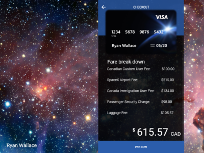 #002 Daily Ui Credit Card - SpaceX Flight to Mars Concept daily ui credit card daily-ui toronto ttc daily ui