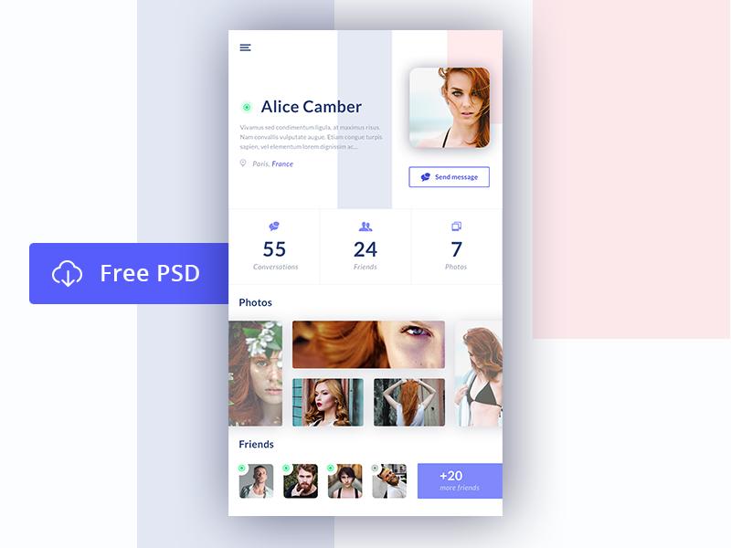 User profile - Freebie freebie psd design ux ui mobile