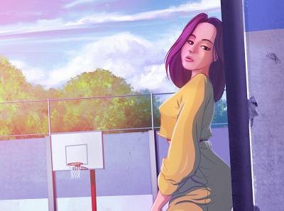 Playground ipad procreate playground basketball girl background anime manga digitalart digitalpainting illustration painting