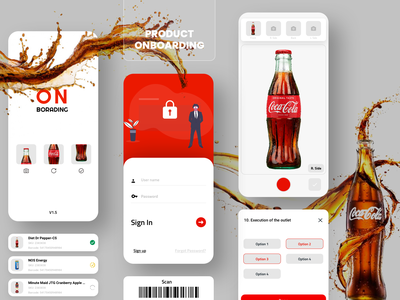 Product On Boarding app iOS 2020 Red White drinks cooldrink pepsi cocacola coca-cola coke product design app tool on boarding flat ui kalarmoon design clean minimal creative