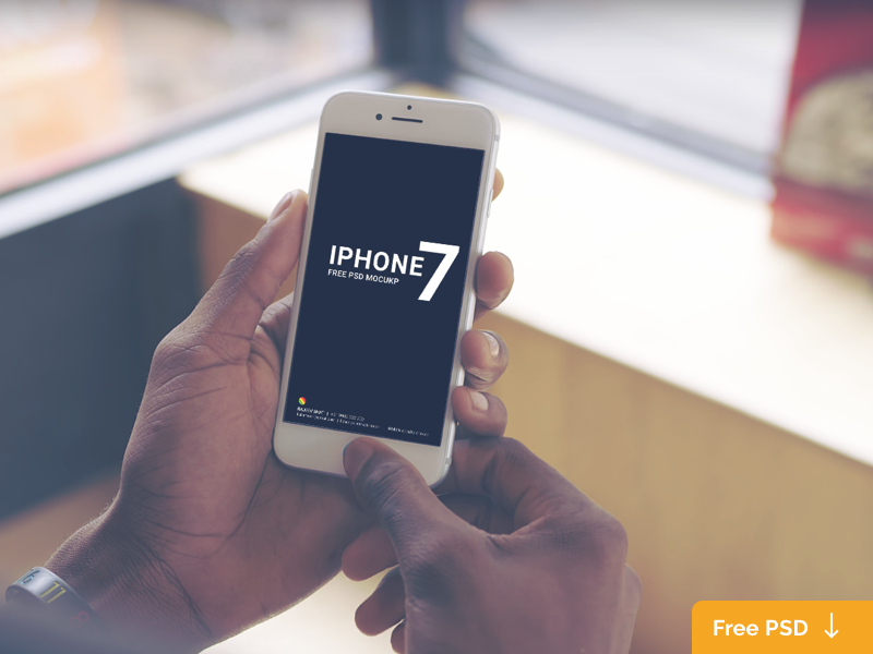 White iPhone 7 Holding in Hand Mockup for Free Psd – Download