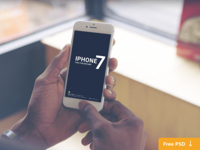 White iPhone 7 Holding in Hand Mockup for Free Psd - Download