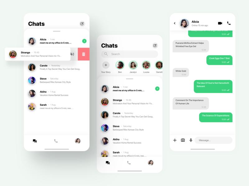 Whatsapp Design Exploration chat app ios instagram facebook design ux ui app whatsapp