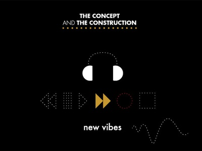 """New Vibes """"Concept and Construction"""" music gold logo inspire identity graphic futura design branding brand"""